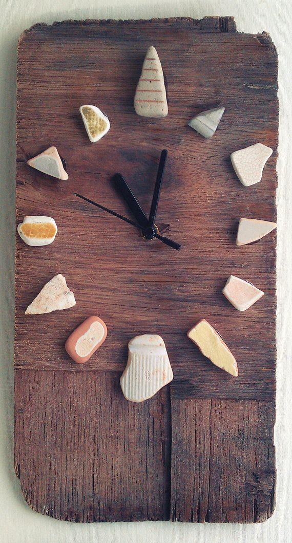 Driftwood Clock w/ Sea Worn Ceramics Recycled Hands by JayBird Art