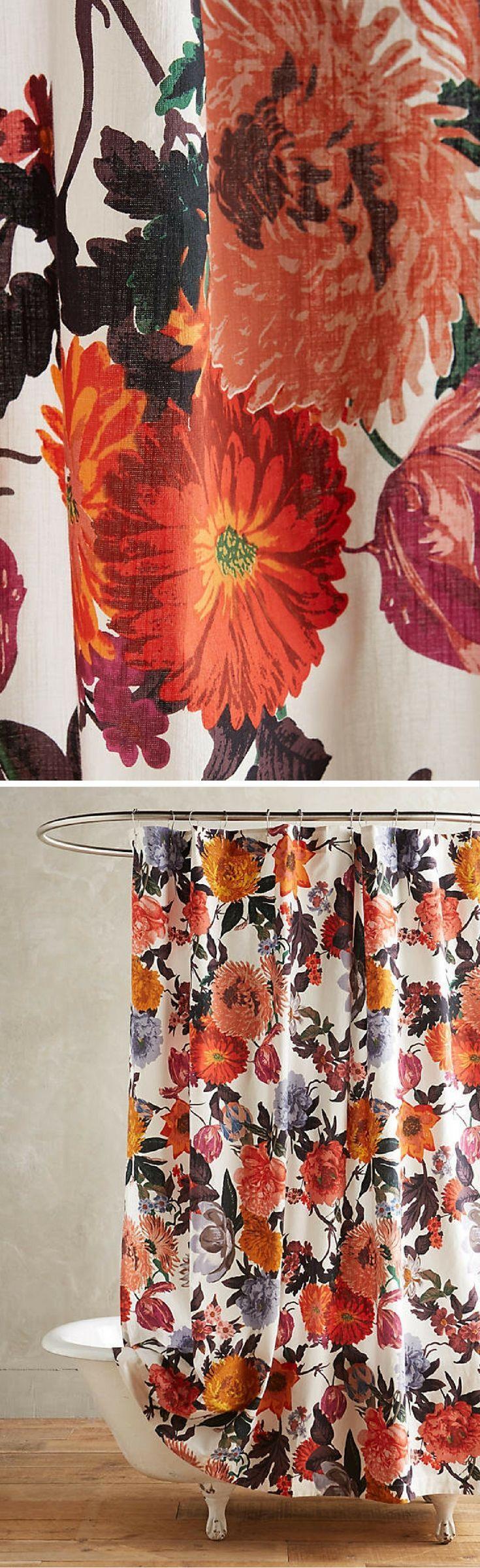 orange floral shower curtain. Floral Shower Curtain  Retro Bathroom Decor Ad homedecor bathroom Best 25 shower curtains ideas on Pinterest Bohemian