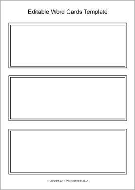 Editable black and white word cards template (SB10512) - SparkleBox