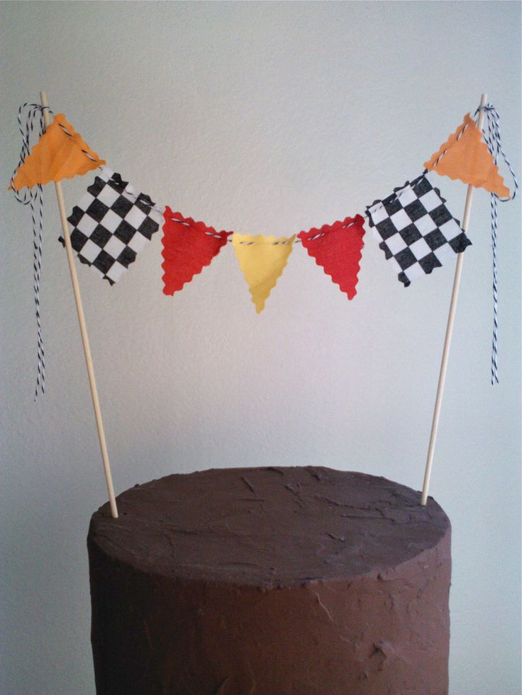 Cake Topper Boys Race Car Flags, Nascar, Monster Truck Cake Bunting Flags. $12.00, via Etsy.