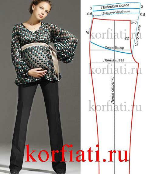Выкройка брюк для беременных: просто сшить! Для беременных женщин на средних и более поздних сроках беременности в выкройку брюк необходимо внести изменения