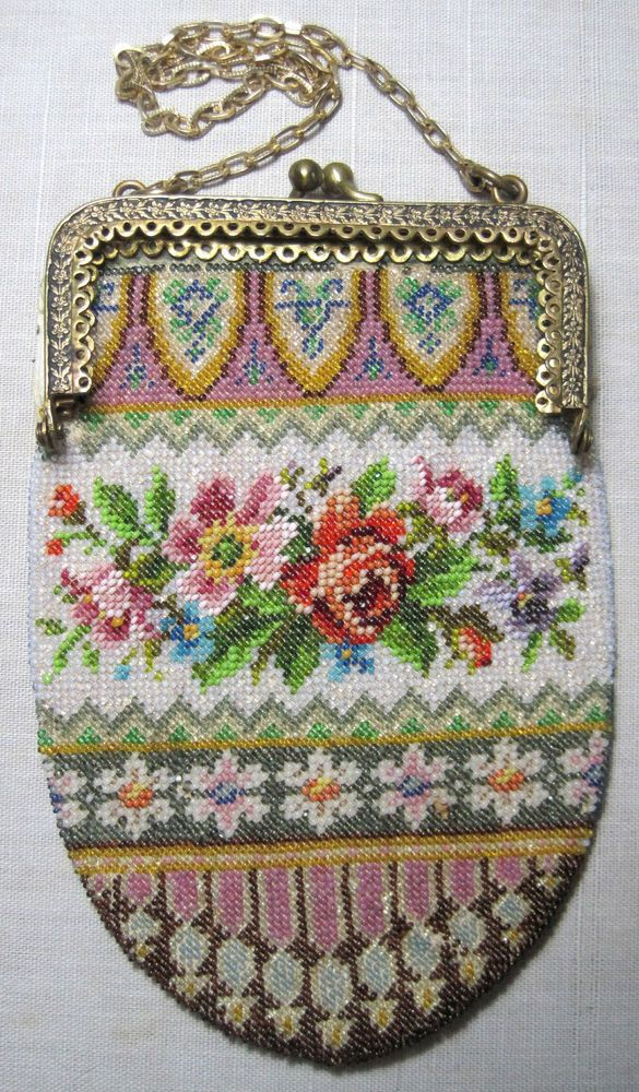Very Sweet Small Vintage Beaded Purse ready for restoration w/frame