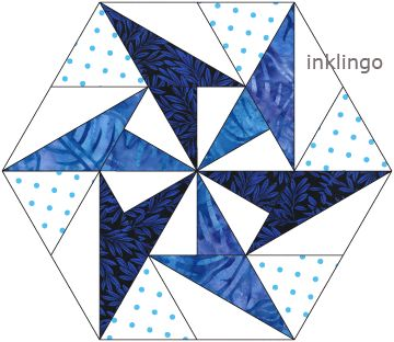 Wednesday Tute 06 – Inklingo Pieced Hexagons on http://www.lindafranz.com/blog/wednesday-tute-06-inklingo-pieced-hexagons/