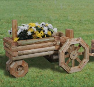 Rattle snake planter made from landscape timbers | Planter Woodworking Plans - Landscape Timber Tractor Planter Pattern