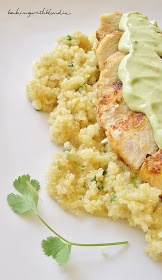 Chicken and Cilantro Lime Quinoa with Greek Yogurt Avocado sauce