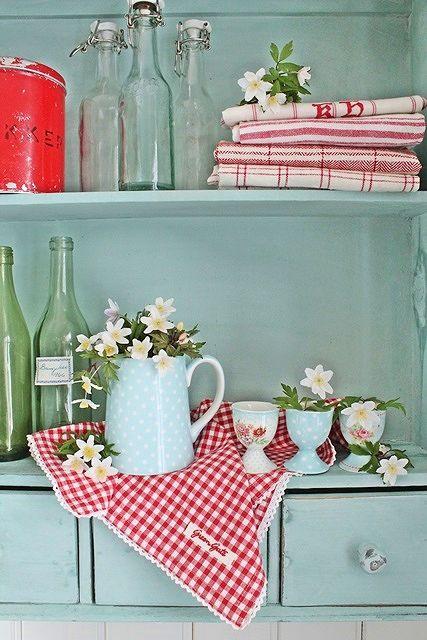Colorful cottage shelves
