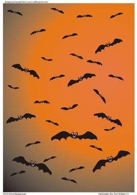 Halloween Sky Full Of Bats 1  on Craftsuprint designed by Anna Babajanyan - Halloween Sky full of bats...perfect for you Halloween cards and projects! 10 more colour versions are available, please click on my name or on MULTI to see the rest of versions. - Now available for download!