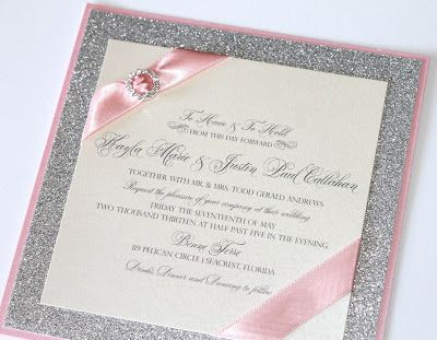 $6.50 Gorgeous Couture Wedding Invitation in Ivory, Light Pink and Silver Glitter paper by embellishedpaperie.com