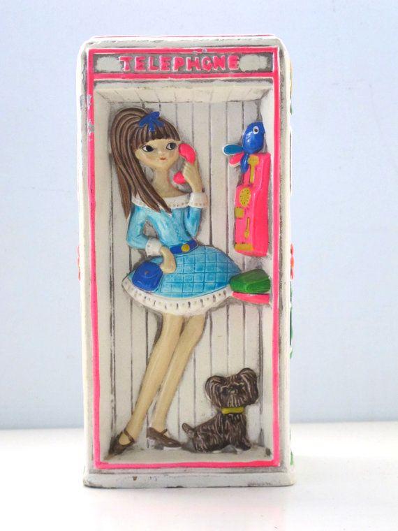Vintage Earl Bernard Mod Girl Telephone Bank by vintagebeachkids