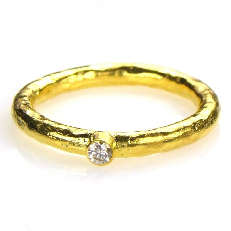 Hammered 24k gold diamond stackable band ring set for 24k gold wedding ring