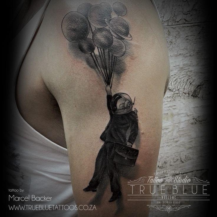 """Suit Space"" piece by Marcel Backer of True Blue Professional Tattoo Studio"