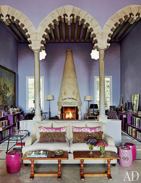 Lilac plaster walls and jewel tones in May Daouk's Beirut Villa, featured in Architectural Digest.