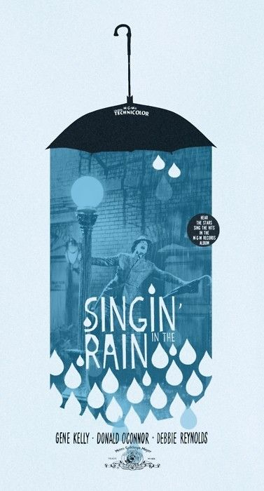 Singing' in the Rain poster- graphic design inspiration. Love the limited colors, use of the raindrop shape, and mix of photo/illustration.