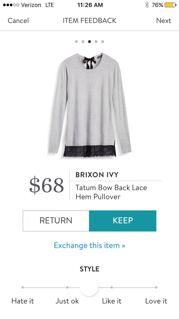 Brixon Ivy Tatum Bow Back Lace Hem Pullover $68. I love Stitch Fix! A personalized styling service and it's amazing!! Simply fill out a style profile with sizing and preferences. Then your very own stylist selects 5 pieces to send to you to try out at hom https://bellanblue.com