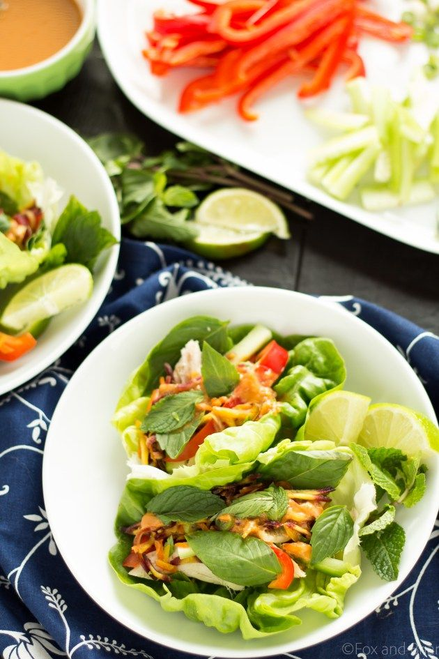 Ginger peanut lettuce wraps - filled with colorful veggies, your protein of choice, and peanut sauce.