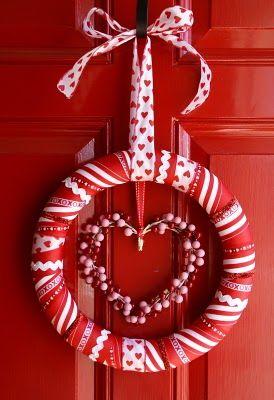 Valentine's Day Ribbon WreathRed Doors, Holiday Wreaths, Heart Wreaths, Ribbons Wreaths, Valentine Wreaths, Front Doors Wreaths, Diy Valentine Day, Six Sisters Stuff, Valentine Decor
