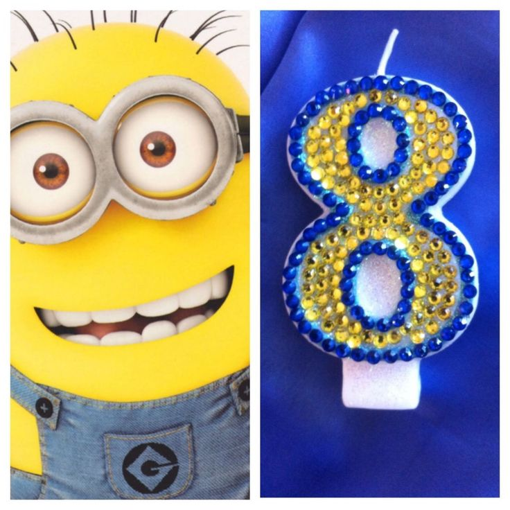 Minion-Themed-CANDLE+Diamante-Cake-Topper-Birthday+Party+Any+Number.+Really+Sparkles!