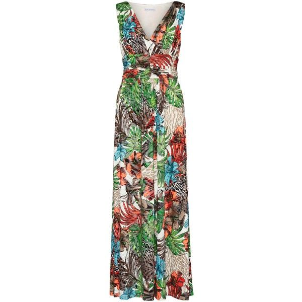 Gina Bacconi Tropical Metallic Print Jersey Maxi Dress, Multi ($130) ❤ liked on Polyvore featuring dresses, jersey dress, mini dress, v neck maxi dress, floral mini dress and floral maxi dress