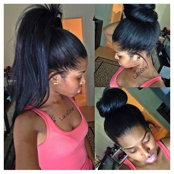High Ponytail And Bun With Clip Ins No Lumps Liked On