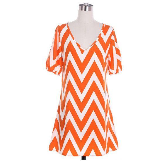 Orange Chevron Dress Cute Zig Zag Pattern Dress Black Chevron Dress White Chevron Dress in Small, Medium or Large