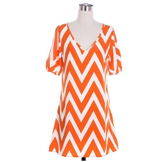 Orange Chevron Dress Cute Zig Zag Pattern Dress Black Chevron Dress White Chevron Dress in Small, Medium or Large