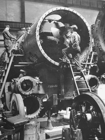 Workers Putting Together the #Boiler Tube Portion of a Locomotive Photographic Print