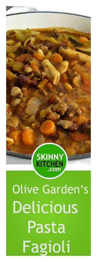 Make Olive Garden's Delicious Pasta Fagioli at Home! You'll love this hearty, fiber rich soup! Each cup has 156 calories, 2g fat & 4 Weight Watchers POINTS PLUS. http://www.skinnykitchen.com/recipes/make-olive-gardens-delicious-pasta-fagioli-at-home/