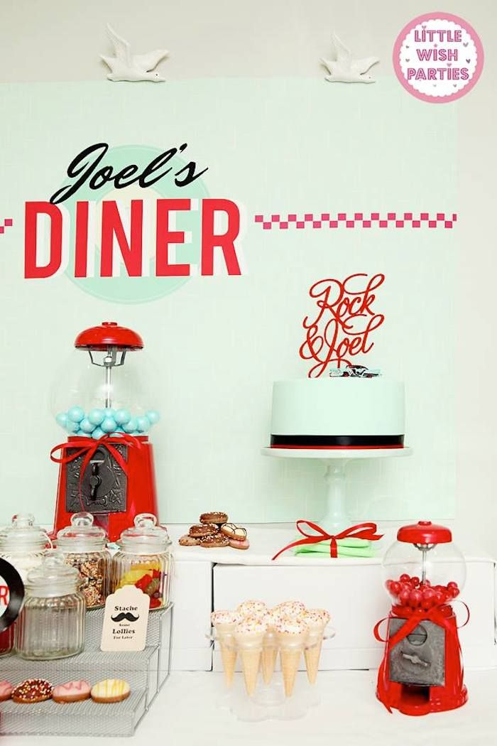1950's Diner + Rock n Roll themed birthday party