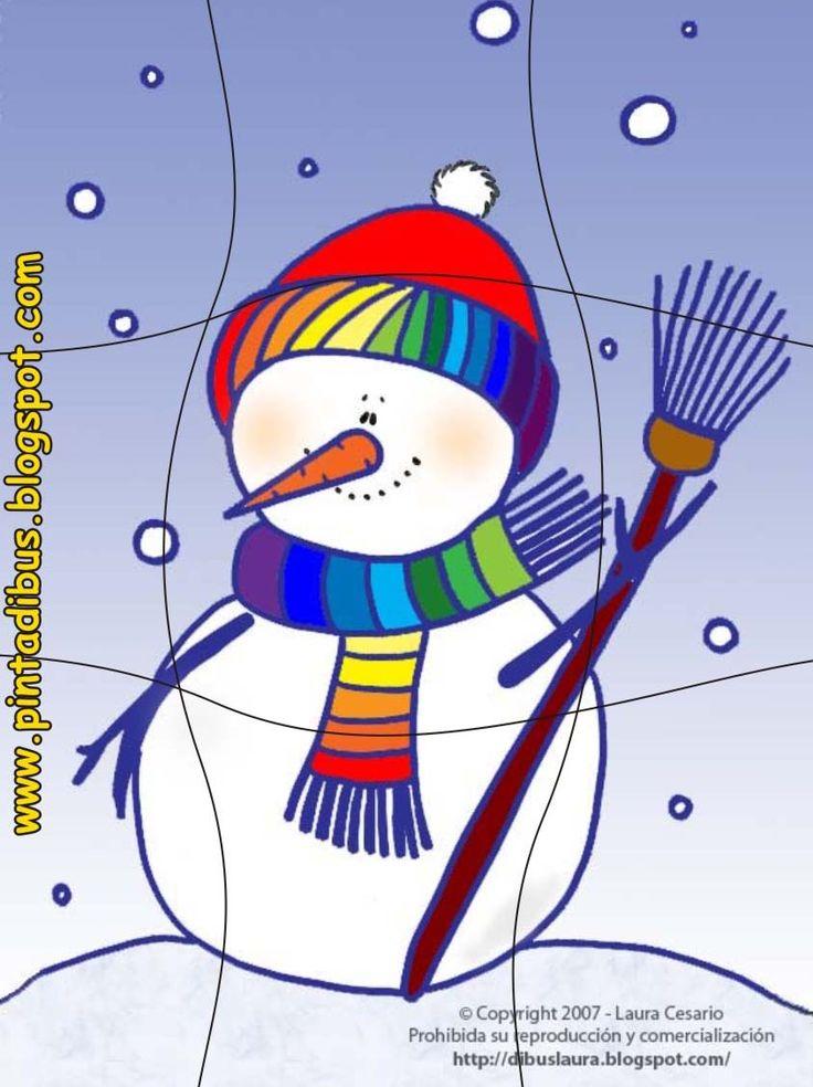 Puzzel sneeuwpop voor kleuters, free printable