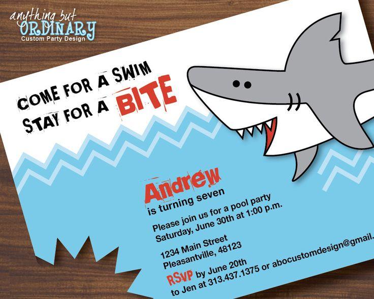 Shark Birthday Invitations, Printable Shark Invites, Shark Bite Pool Party Invitations, Shark Party,