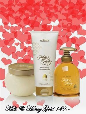OriflameBenita Ge ditt stöd till Hjärt & Lungfonden!!!  Produkterna innehåller organiskt mjölk- och honungsextrakt som vårdar och ger huden återfuktning. Fördelarna med mjölk och honung har varit kända i århundraden & därför har också Oriflame skapat den breda serien med Milk & Honey Gold produkter för att ge oss en ordentlig vardagslyx! ♡