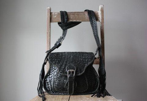 Black Woven Leather Saddle Bag - Caravana