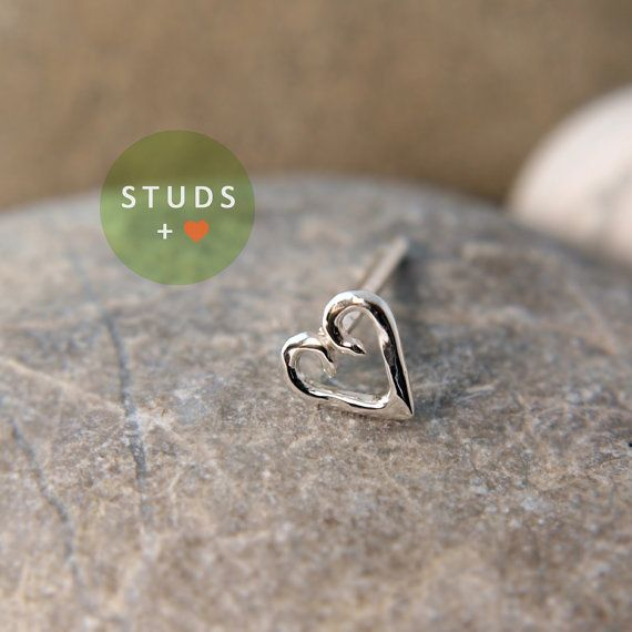 CARTILAGE heart sterling silver/ cartilage by StudsEarrings, $11.95