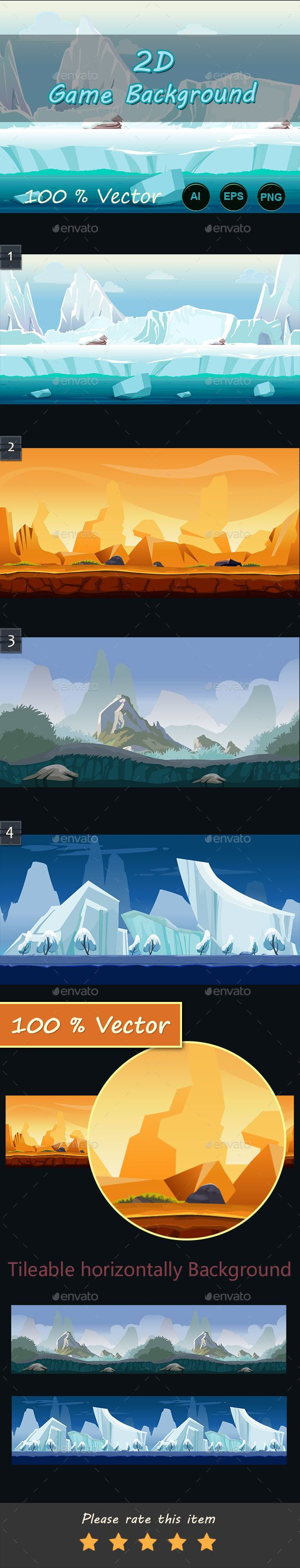 2d game Backgrounds You can use this background for your game application/project. It suits for game developers, or indie game developers who want to make looping GUI cartoon game for Android or iOS. The Game background is made with 100% vector. You can edit it with illustrator software. Best for action, shooting, adventure and other side-scrolling game platform.