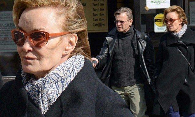 Jessica Lange and ex Mikhail Baryshnikov bundle up against the frost