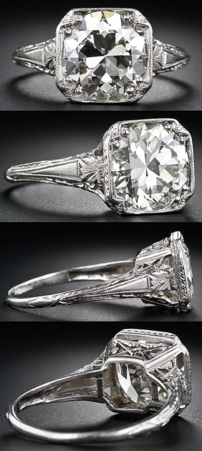 3.26 carat antique diamond engagement ring. Late Edwardian or early Art Deco. Via Diamonds in the Library.