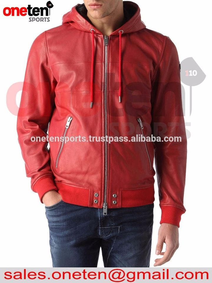 100% sheep skin red leather hooded jacket / leather jacket for men / Red leather jacket