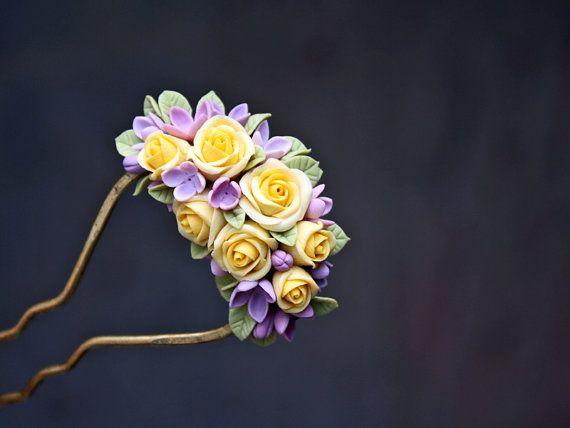 flower polymer clay hair stick, hair accessories ,handmade flowers