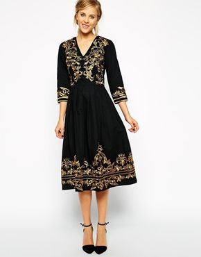 Asos Premium Midi Dress With Metallic Embroidery Closet Wishes Pinterest Dresses And Style