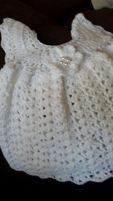 Crochet baby dress white