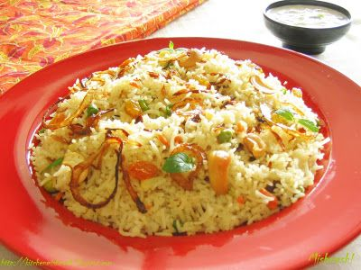 Vegetable Ghee Rice - Indian Rice flavored with whole spices and vegetables in Ghee.
