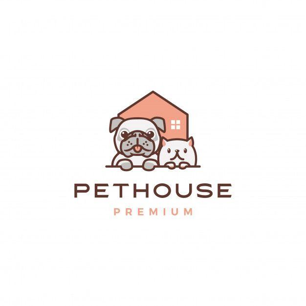 Cao Gato Pet Casa Logo Em Casa In 2020 Pet Shop Logo Design Pet Logo Design Dog Logo Design