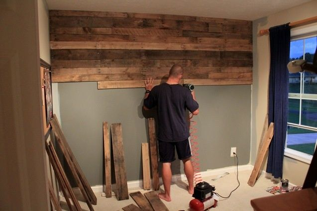 remodel drywall alternatives Gorgeous pallet wood wall with detailed instructions on how they did it. From just a girl blog.    decor