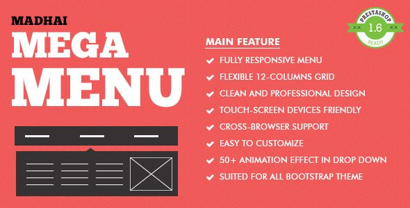 Madhai - Responsive Prestashop Megamenu Module. Built on top of Bootstrap 3 and comes with various options.