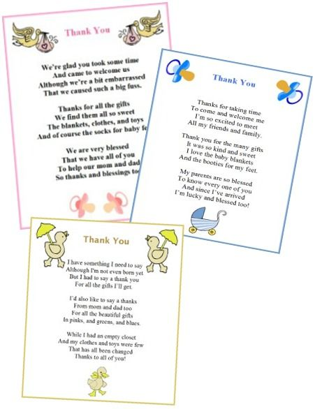 printable baby shower thank you poems from baby boy and girl thank