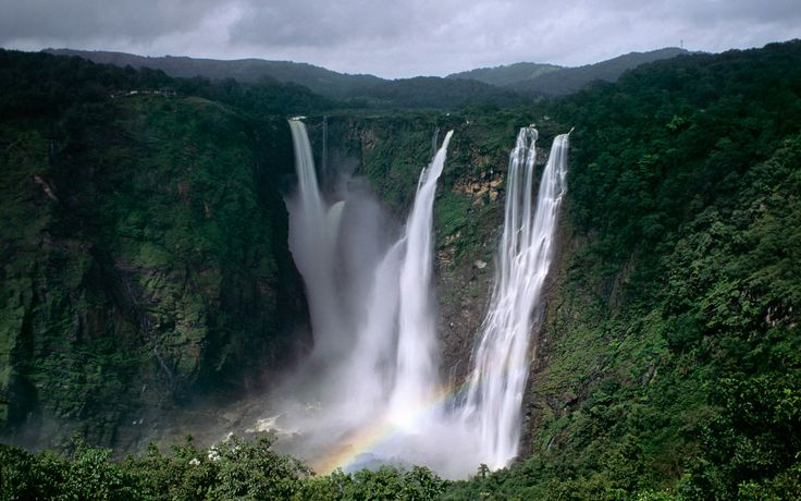 Jog Falls in India reach a height of 829 feet, and are found in the waterfall-rich region of Karnataka, India.