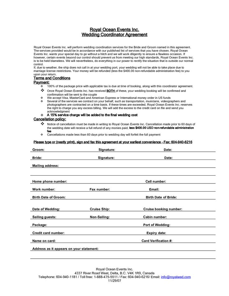 Wedding planner contract agreement life hacks for Event management agreement template
