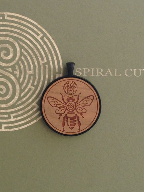 Bee with Seed of Life Symbol  Laser Engraved by SpiralCutStudio