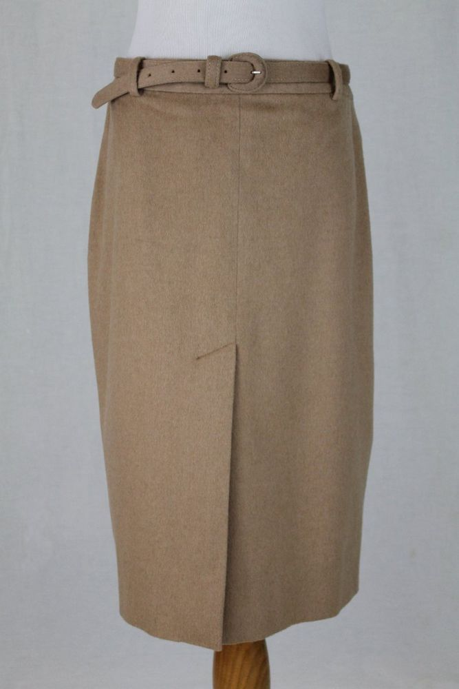 9d51450f04d0 Ralph Lauren Collection Baby Camel Hair Below the Knee Belted Skirt 8 NEW   RalphLaurenCollection  StraightPencil