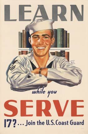 I would love to frame some of the vintage Coast Guard posters and put them in my husband's office